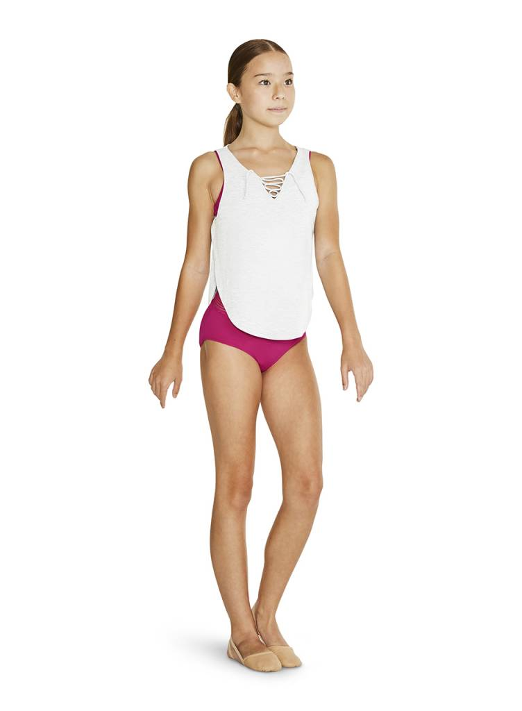 2903fdd341920 Bloch Lace up Front Tank Top FT5135C - Black and Pink Dance Supplies ...