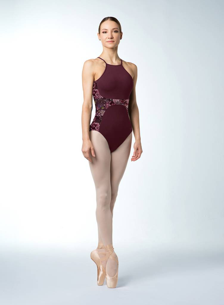 046110cbc583f Bloch Paneled Floral Mesh Cami Leotard L4857 - Black and Pink Dance Supplies