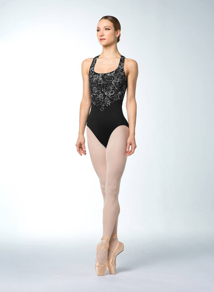 c79152010ce6 Bloch Cross Back Floral Mesh Tank Leotard L9875 - Black and Pink Dance  Supplies, Tulsa