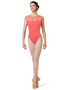 Mirella Mirella Zip Back Juliet Lace Cap Sleeve Leotard M5071LM