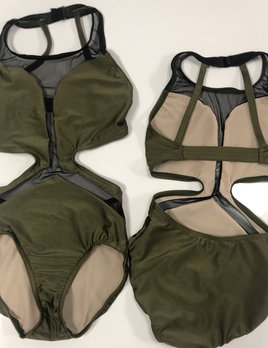 BP Designs Olive Shiny Michelle Leotard
