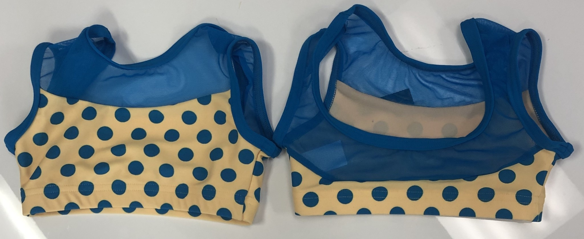 BP Designs Yellow with Blue Polka Dots Bra