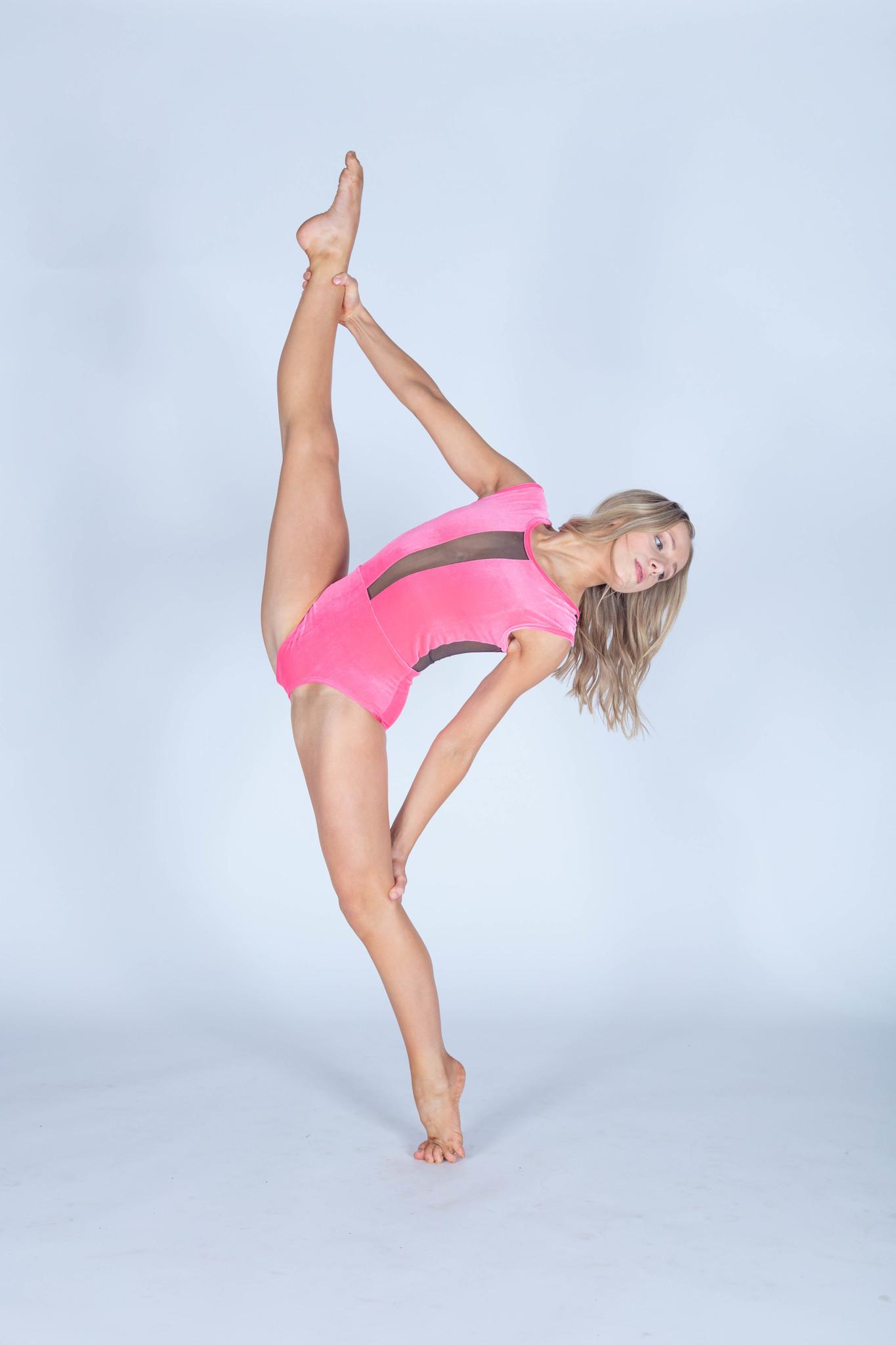 b2acde6fb Neon Pink Velvet Caroline Leotard - Black and Pink Dance Supplies, Tulsa