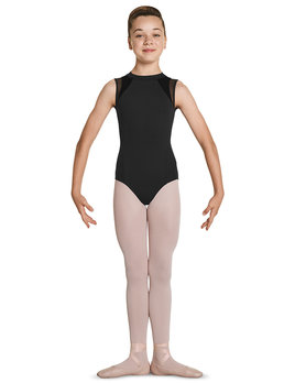 Mirella Mirella Hight Neck Velvet Paneled Tank Leotard M458C