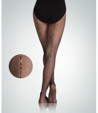 Body Wrappers Seamed Rhinestone Fishnet Tights  A64