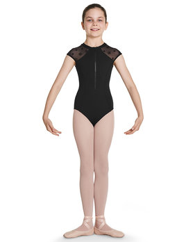 Bloch Bloch Zip Front Floral Cap Sleeve Leotard CL8762