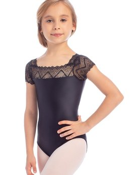 So Danca L1841 So Danca Black Zig Zag Mesh Cap Sleeve