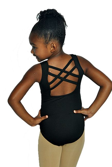e5ada18bc BP Designs Youth Double Cross Back Tank Leotard 73114 - Black and ...