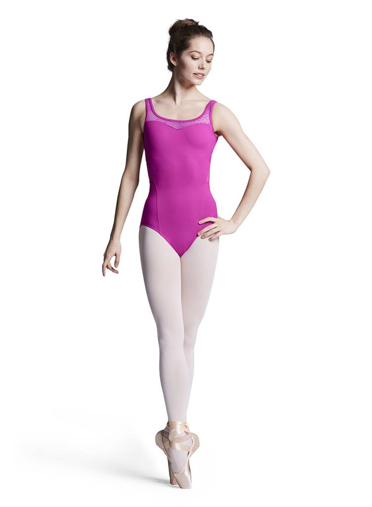ccf39631f3b9 Bloch Sweetheart Flower Mesh Tank Leotard L8895 - Black and Pink Dance  Supplies, Tulsa