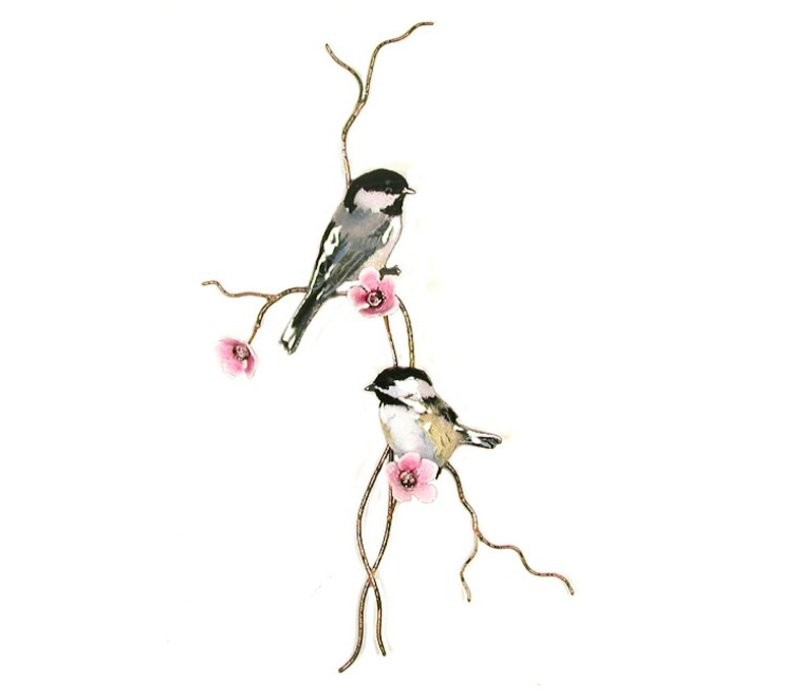 Chickadees on Branch with Pink Flowers
