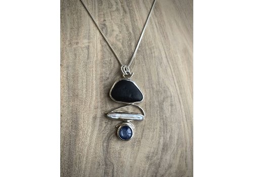 Beachstone, Pearl, Kyanite Necklace