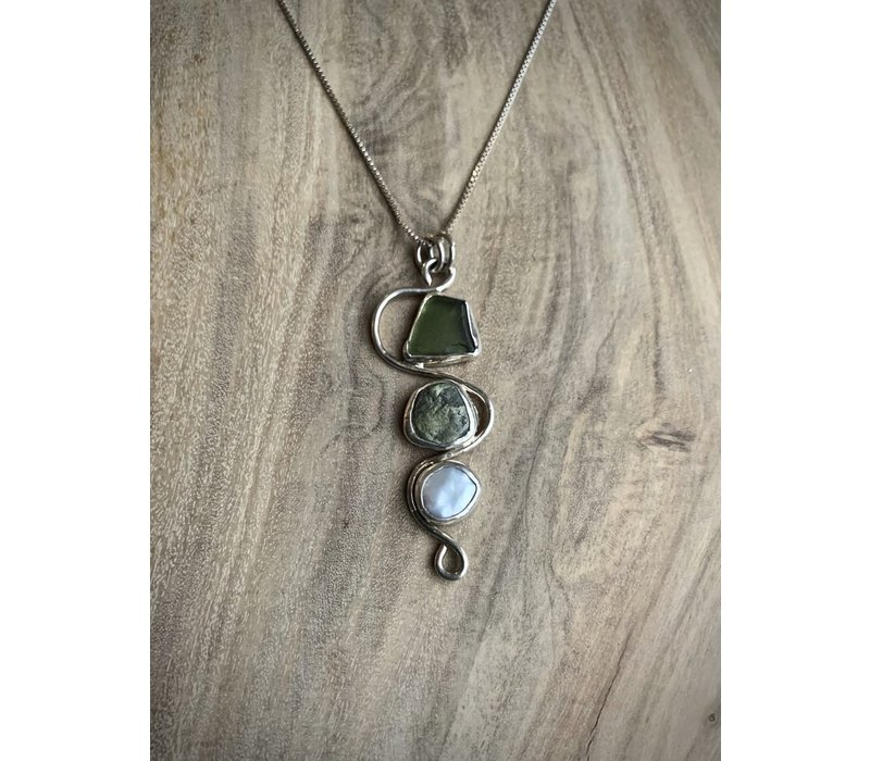 Sea Glass, Pearl & Beachstone Necklace