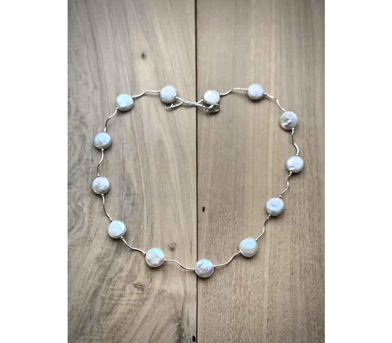 Squiggle Coin Pearl Necklace