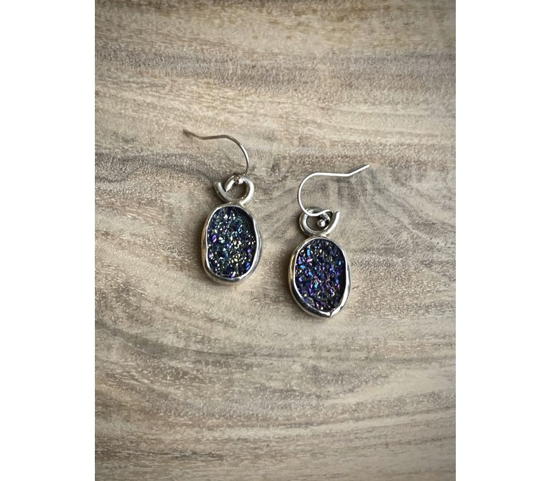 Oval Purple Druzy Earrings