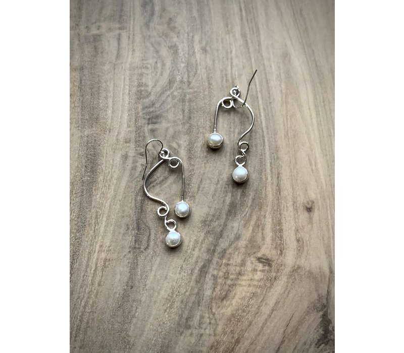 Double Pearl Swirl Earrings