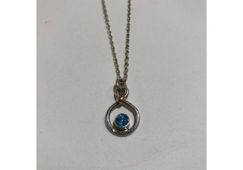 Tina Dinsmore Swiss Blue Topaz Infinity Necklace