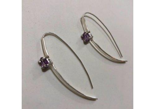 Tina Dinsmore Elegant Hoop Earrings with Amethyst Earrings