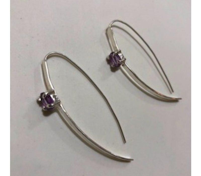 Elegant Hoop Earrings with Amethyst Earrings