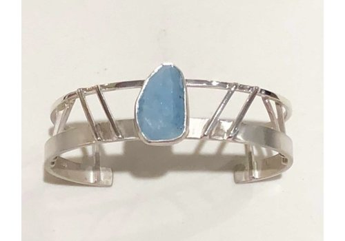 Sterling Silver Art Deco Cuff with Aquamarine Stone