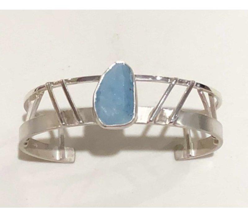 Sterling Silver Art Deco Cuff with Aquamarine Stone