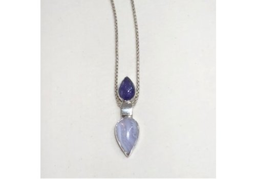 Pendulum pendant with Tanzanite & agate