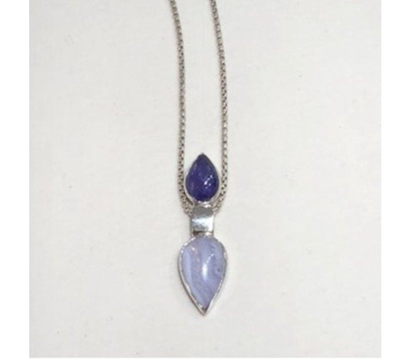 Pendulum pendant with Tanzanite & agate