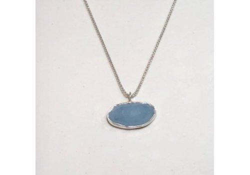Aquamarine Pendant with Argentium Silver Chain