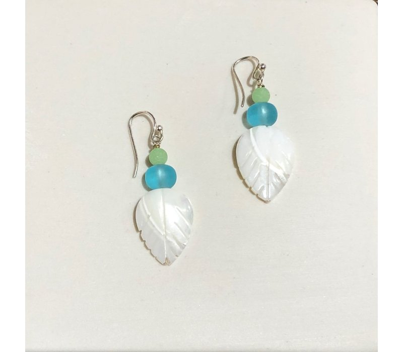 Mother of Pearl Leaves with Faux Aqua & Green Seaglass Earrings