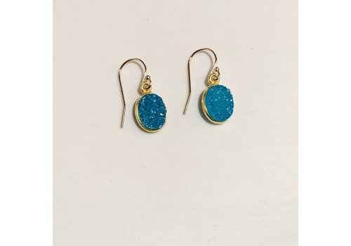 Gold Filled Aqua Druzy Earrings
