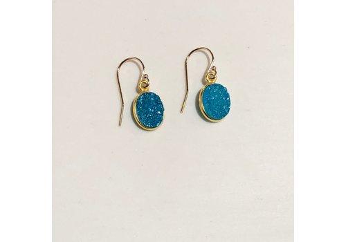 Gold Filled Aqua Druzy Earrings