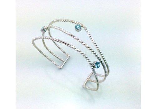 Tina Dinsmore Athena Wave Cuff With Blue Topaz