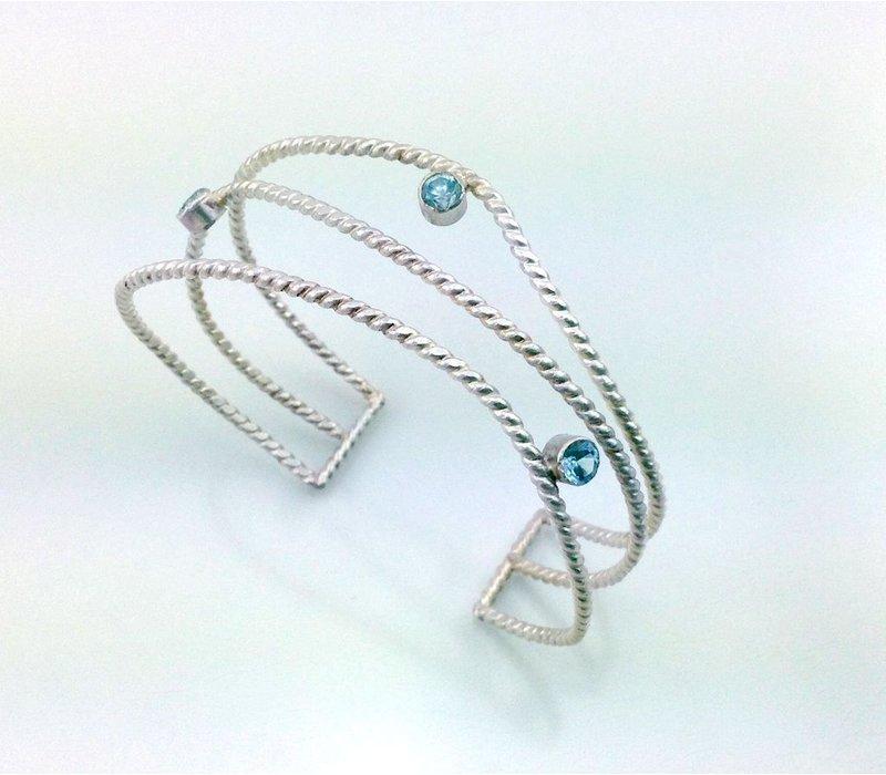 Athena Wave Cuff With Blue Topaz