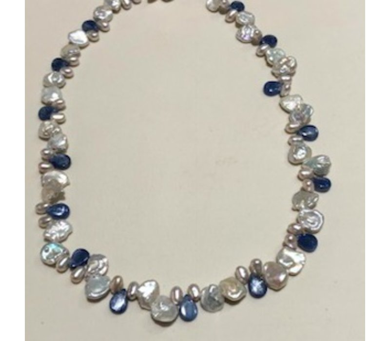 Signature Keishi Pearl with Kyanite Brios Necklace