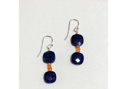 Double Square Lapis & Carnelian Rondelle Earrings
