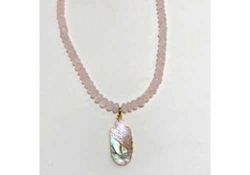 Rose Quartz Necklace with Abalone Pendant