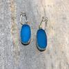 Large Oval Blue Druzy Earrings