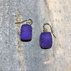 Rectangular Purple Druzy Earrings