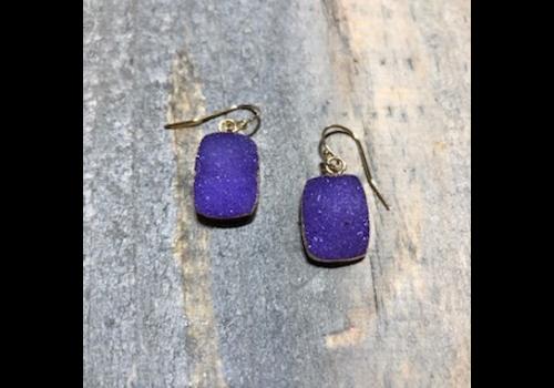 Rectangular Purple Druzy Earrings