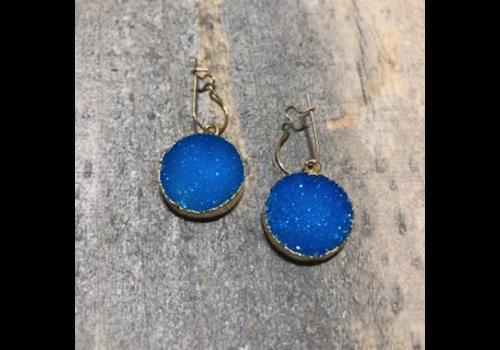 Round Blue Druzy Earrings