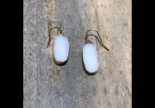Oval White Druzy Earrings