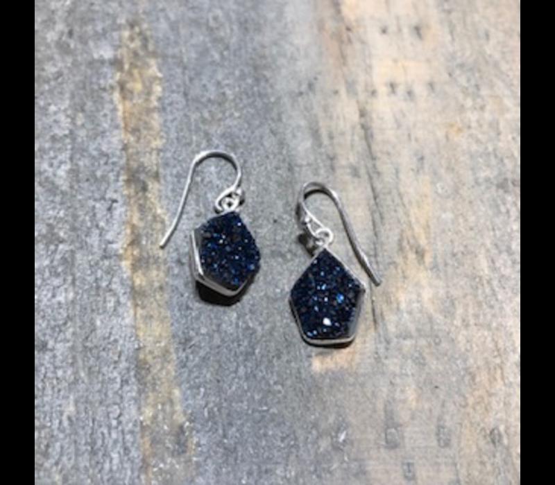 Blue Druzy Earrings