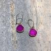 Fuchsia Teardrop Druzy Earrings