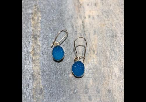 Small Blue Druzy Earrings