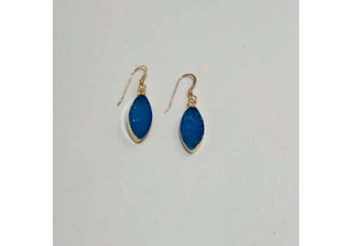 Large Blue Druzy Earrings