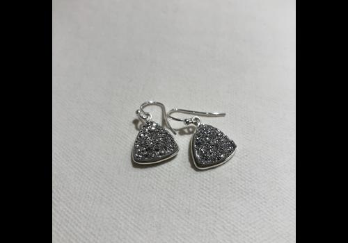Triangle Silver Druzy Earrings