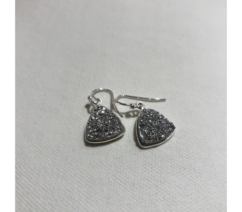 Triangle Silver Druzy Earrings