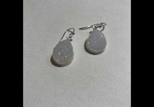 White Teardrop Druzy Earrings