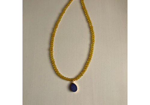 Yellow Jade Bead w/ Purple Teardrop Druzy Necklace