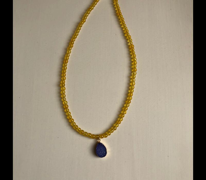 Yellow Jade Bead w/ Purple Teardrop Druzy Necklace