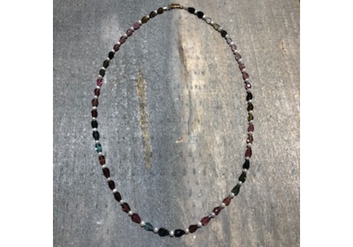 Teardrop Multi Tourmaline & Seed Pearl Necklace